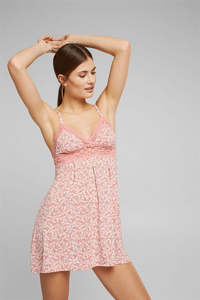 Recycled: lace-trimmed chemise, CORAL, detail image number 0
