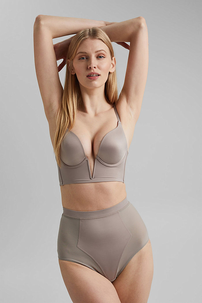 SHAPEWEAR High-Waist-Slip mit Mesh, LIGHT TAUPE, detail image number 0