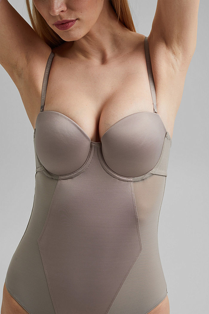 SHAPEWEAR Body aus Netzstoff, LIGHT TAUPE, detail image number 1
