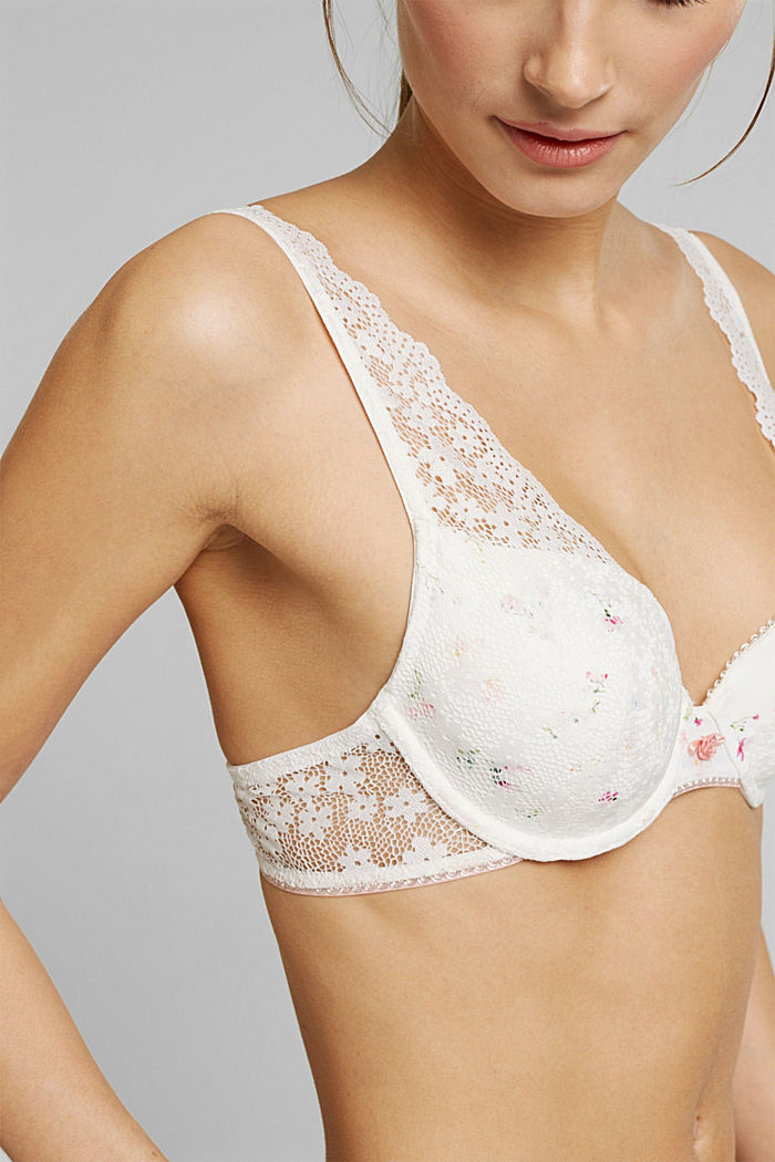 Recycled: padded underwire bra with lace, OFF WHITE, detail image number 3