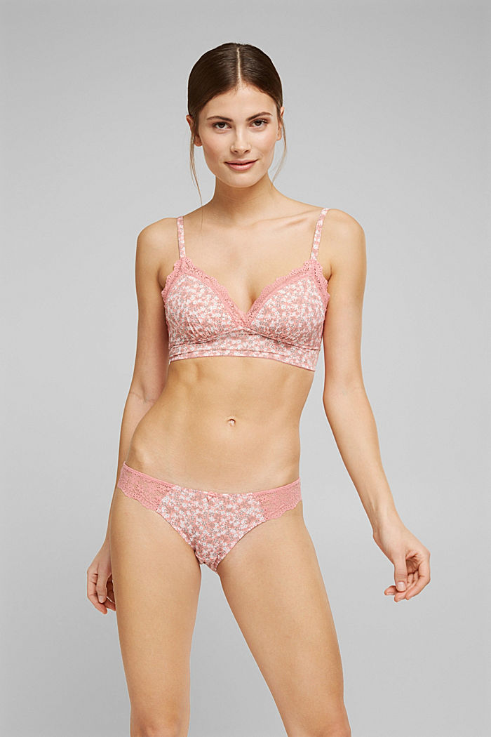 Recycled: Padded, wireless bra trimmed with lace, CORAL, detail image number 0