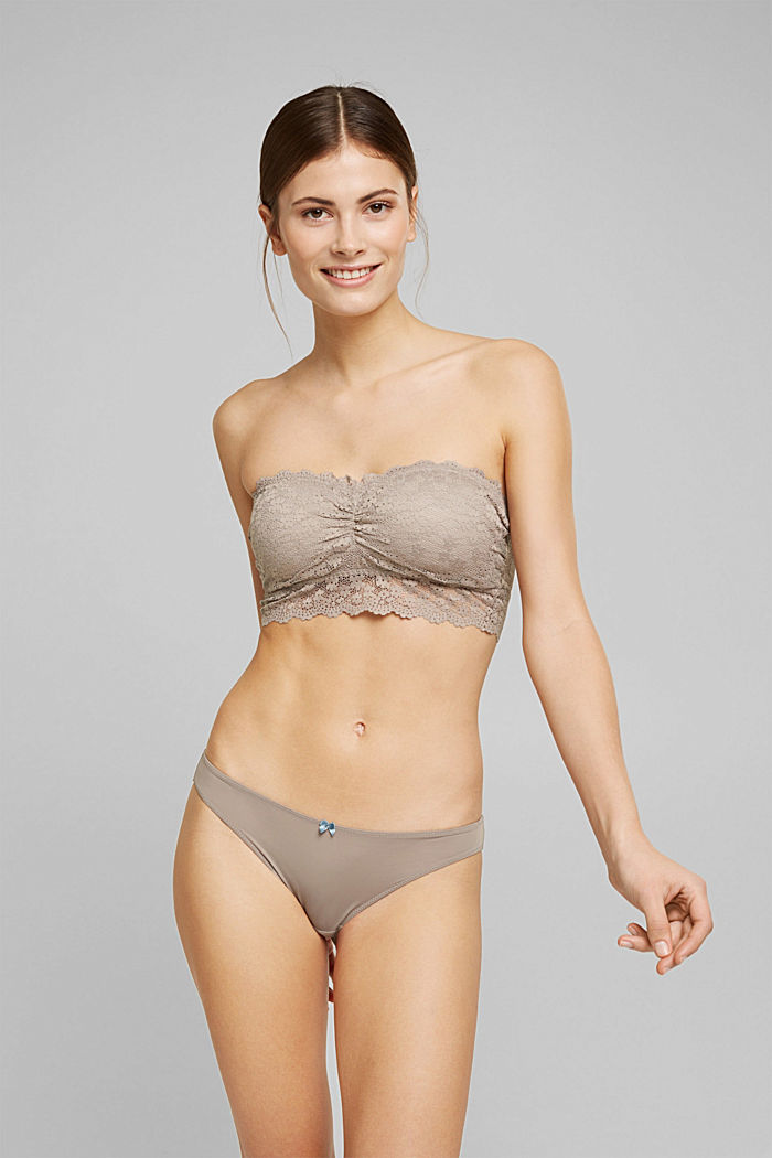 Recycled: Padded bandeau bikini top with lace, LIGHT TAUPE, detail image number 0