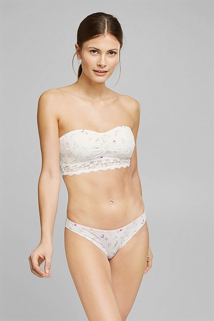 Recycled: Padded bandeau bikini top with lace, OFF WHITE, detail image number 0