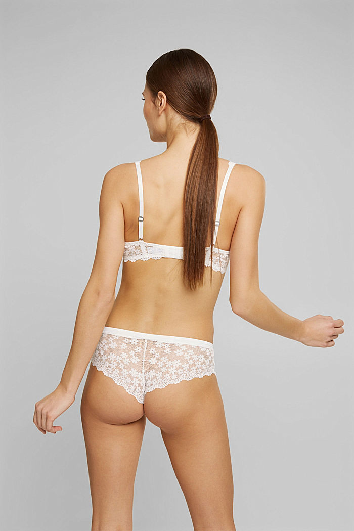 Recycled: padded underwire bra with lace, OFF WHITE, detail image number 1