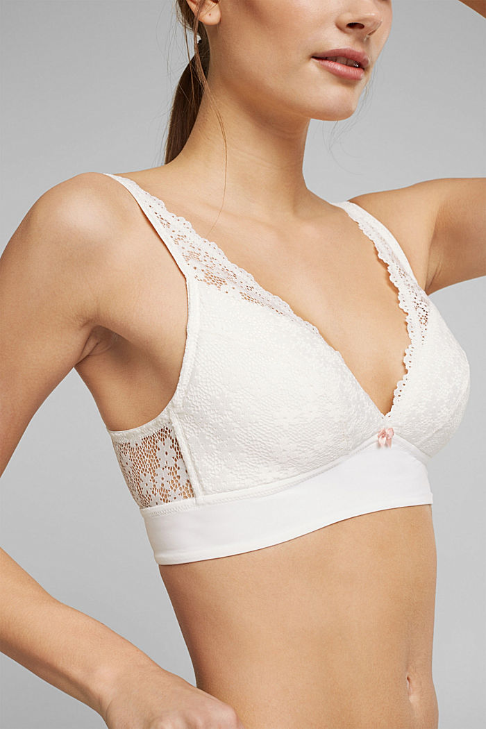 Recycled: Padded bra with lace, OFF WHITE, detail image number 2