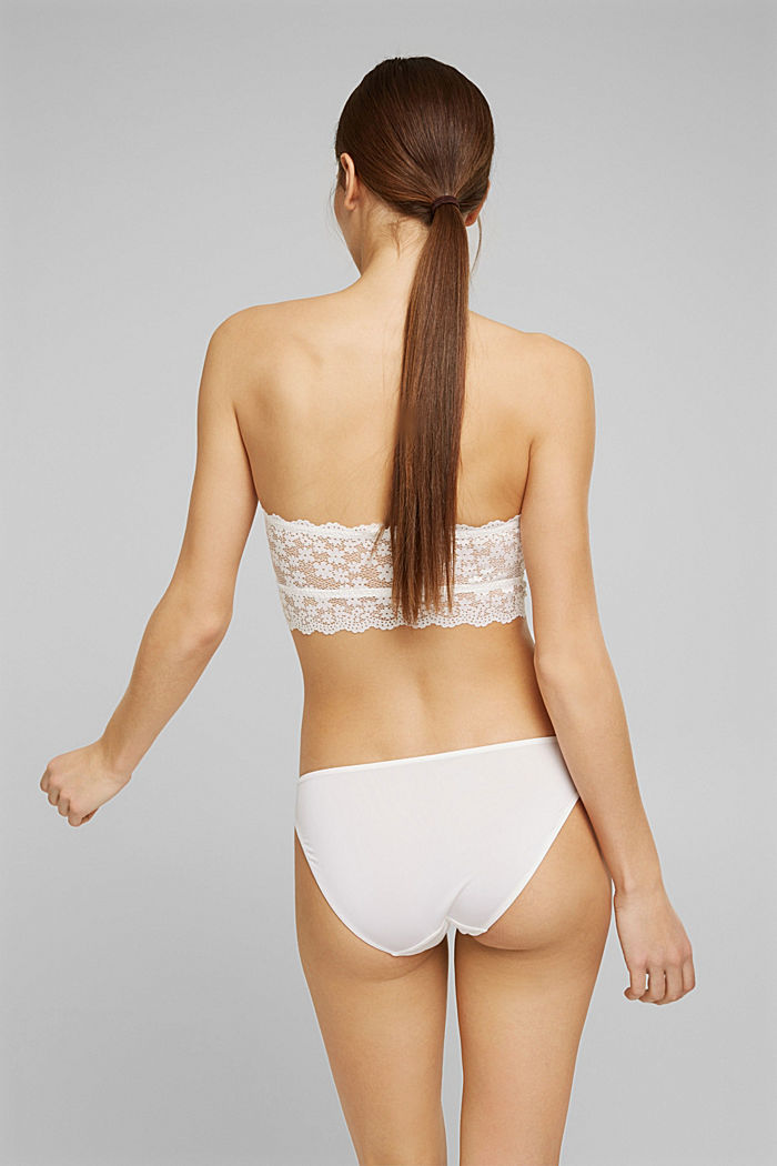 Recycled: Padded bandeau bikini top with lace, OFF WHITE, detail image number 1
