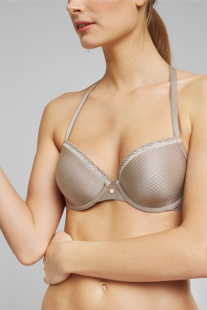 Padded underwire bra with a jacquard pattern, LIGHT TAUPE, detail image number 2