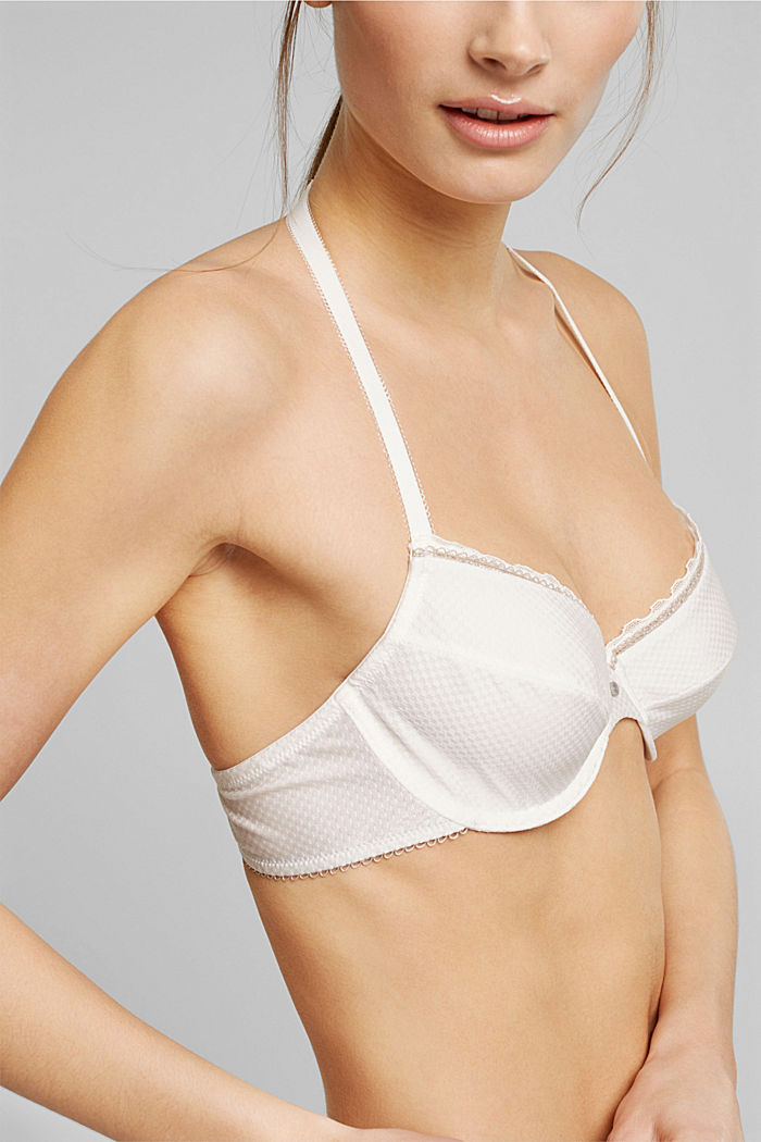 Unpadded underwire bra with lace, OFF WHITE, detail image number 2