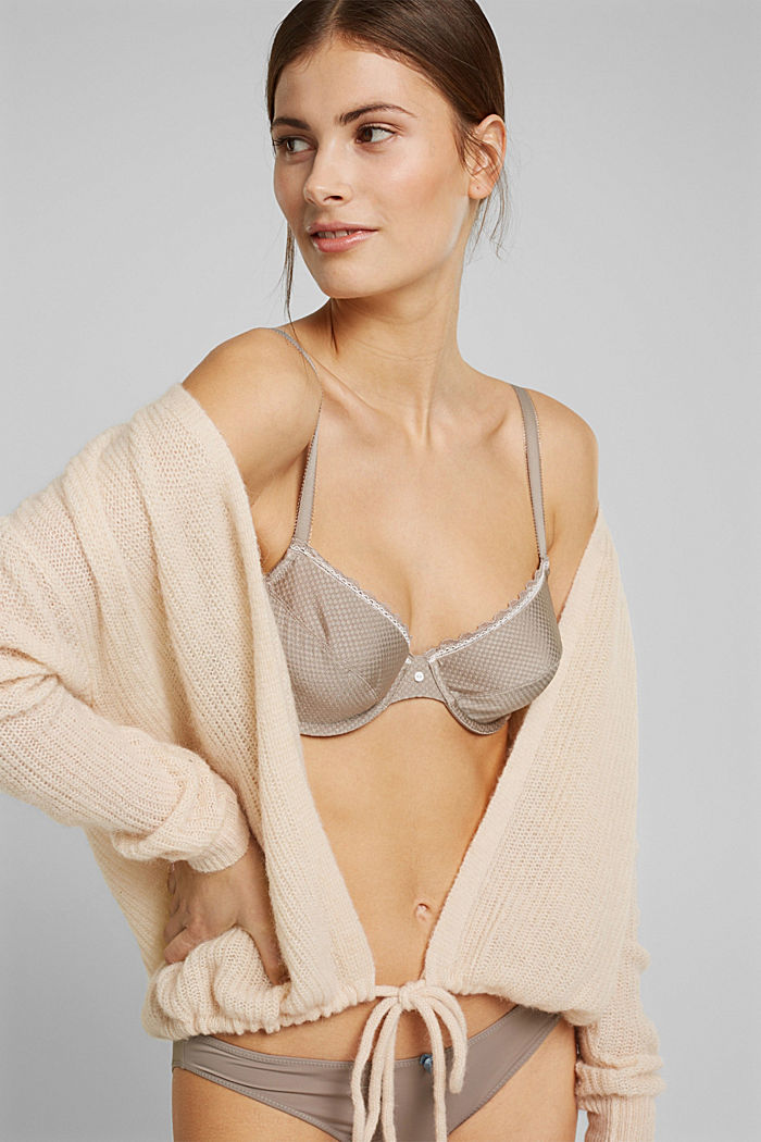 Unpadded underwire bra with lace, LIGHT TAUPE, detail image number 0