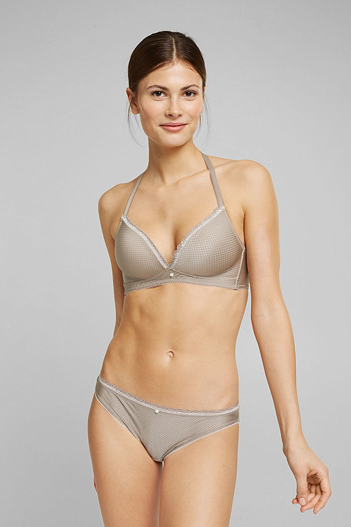 Padded bra with a jacquard texture, LIGHT TAUPE, overview