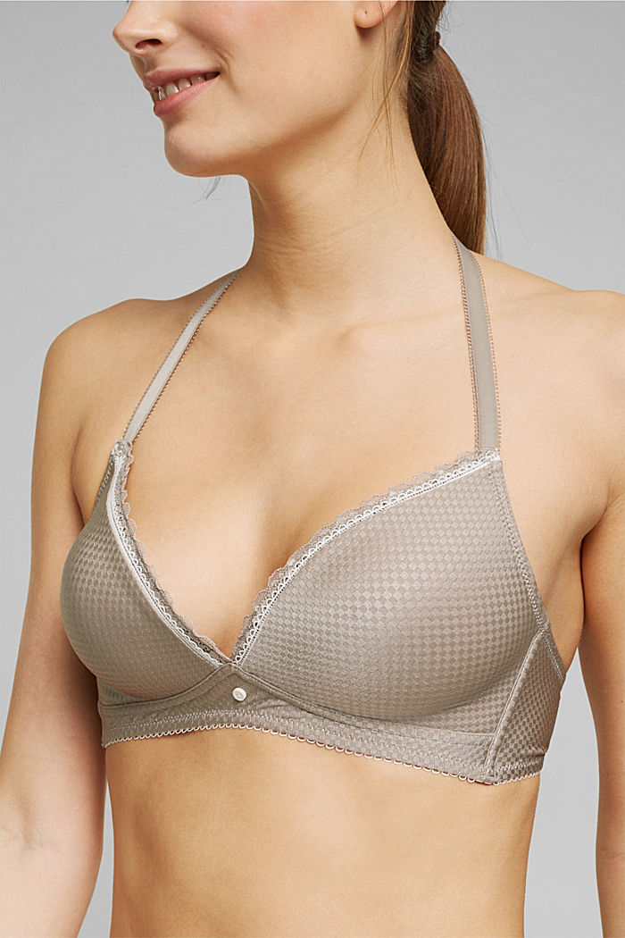 Padded bra with a jacquard texture, LIGHT TAUPE, detail image number 2