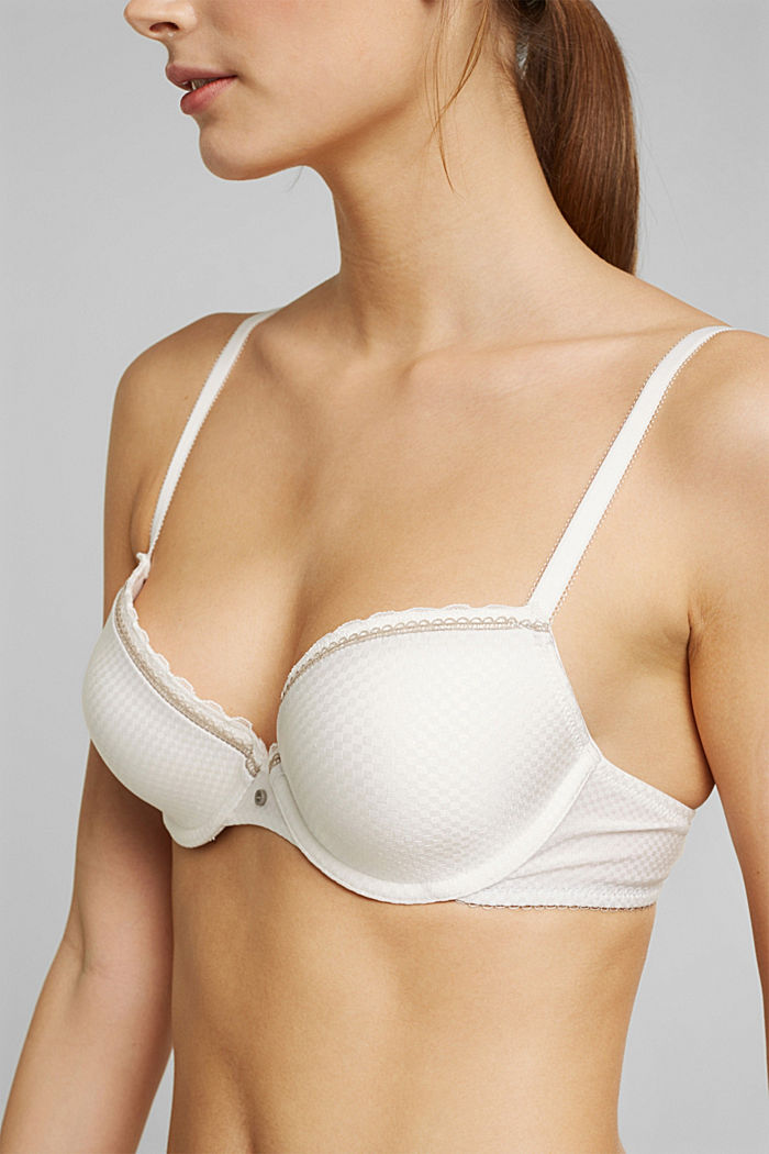 Padded underwire bra with a lace trim, OFF WHITE, detail image number 2