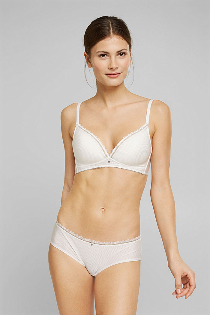 Padded, wireless bra trimmed with lace