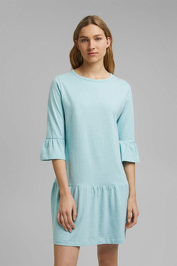 Koszula nocna z jerseyu z bawełną ekologiczną, TEAL BLUE, detail image number 1