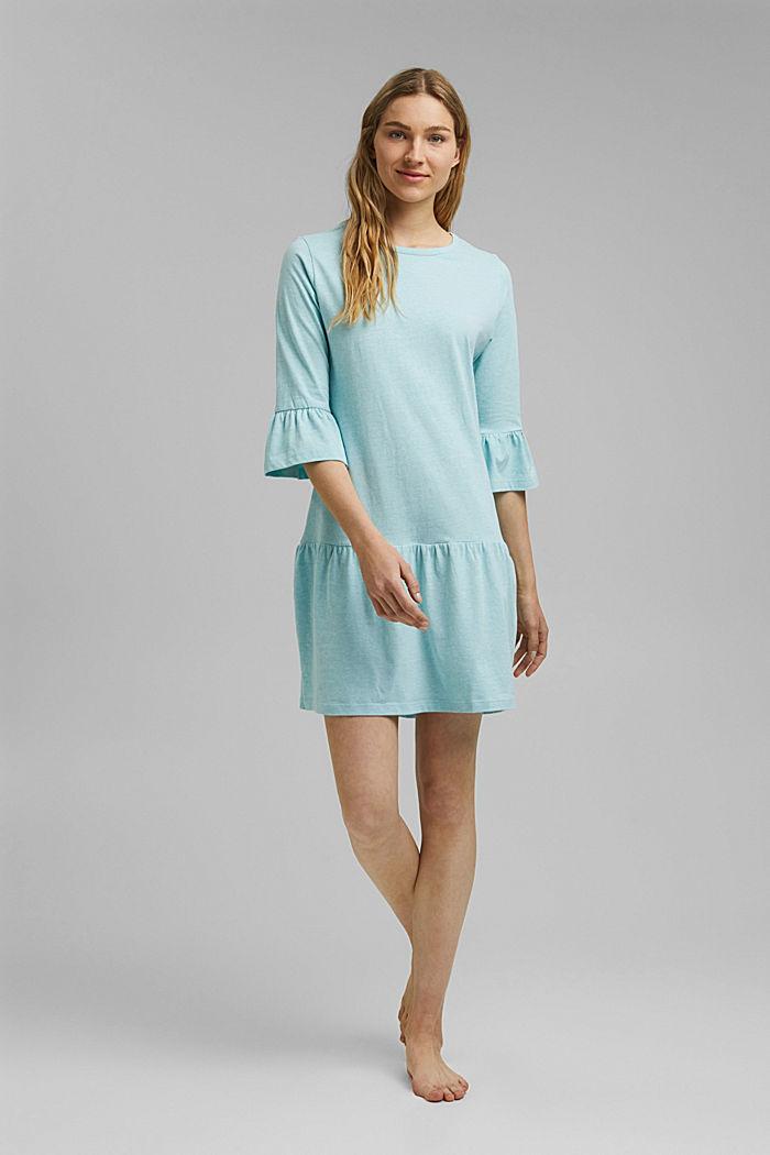 Koszula nocna z jerseyu z bawełną ekologiczną, TEAL BLUE, detail image number 0