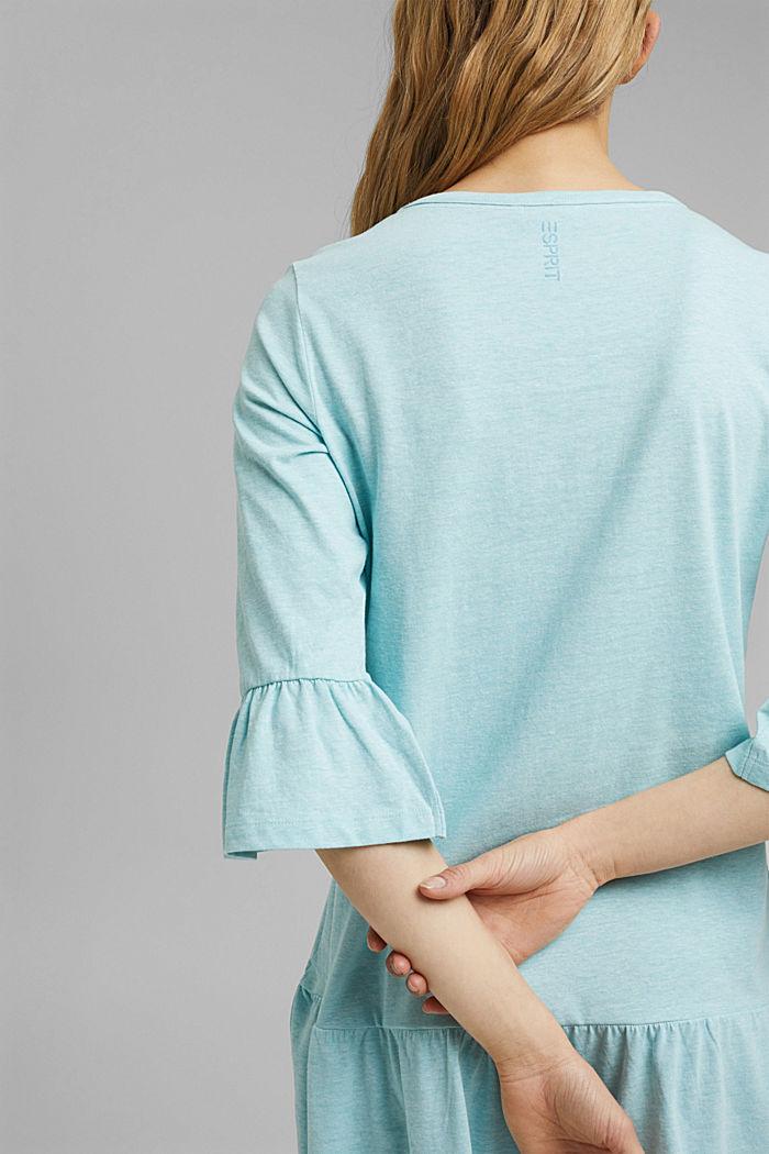 Koszula nocna z jerseyu z bawełną ekologiczną, TEAL BLUE, detail image number 3