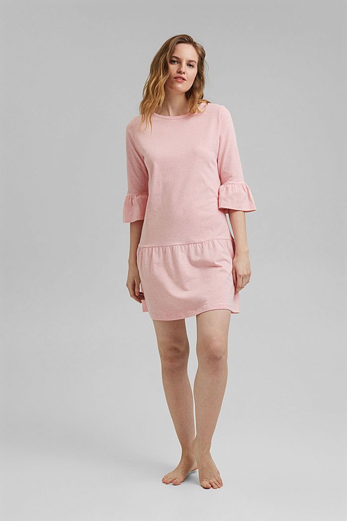 Jersey nightshirt with organic cotton, CORAL, detail image number 0