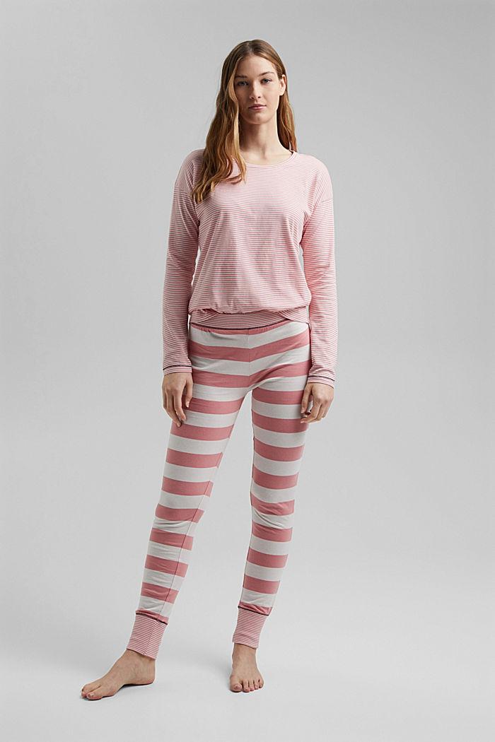 Striped jersey pyjamas, organic cotton, CORAL, detail image number 0