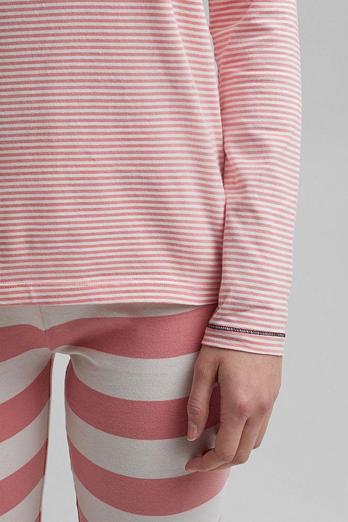 Striped jersey pyjamas, organic cotton, CORAL, detail image number 2