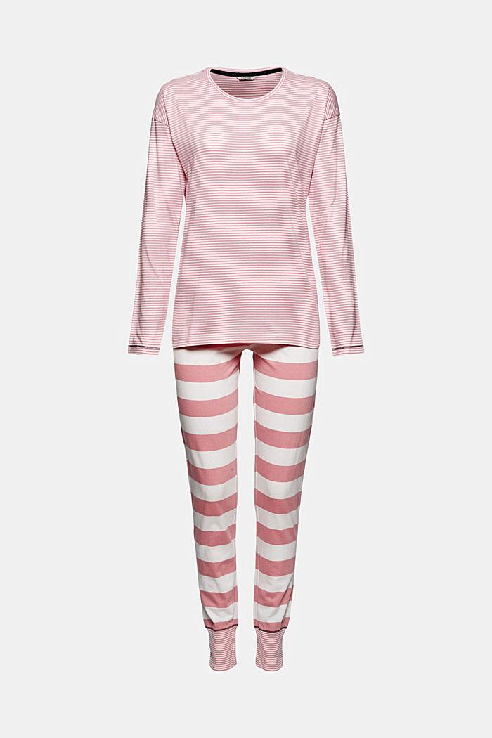 Striped jersey pyjamas, organic cotton, CORAL, detail image number 3