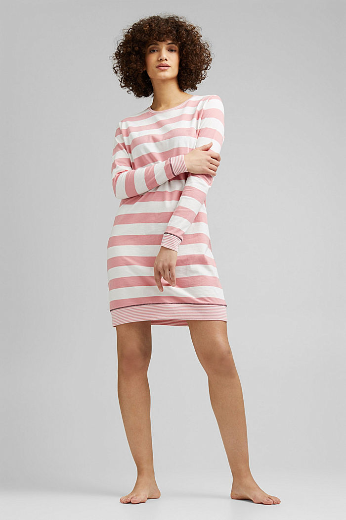 Nightshirt with stripes, 100% organic cotton, CORAL, detail image number 0