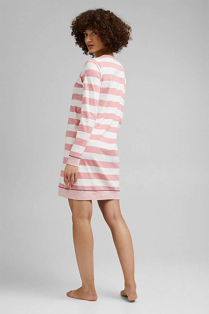 Nightshirt with stripes, 100% organic cotton, CORAL, detail image number 1