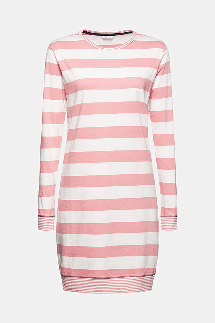 Nightshirt with stripes, 100% organic cotton, CORAL, detail image number 4