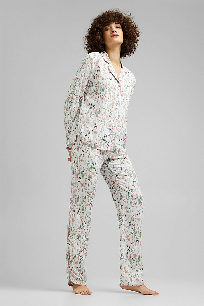 Floral pyjamas made of LENZING™ ECOVERO™, OFF WHITE, detail image number 0