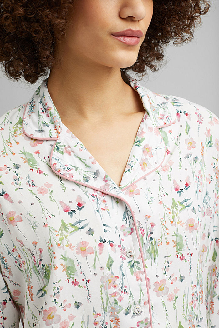 Floral pyjamas made of LENZING™ ECOVERO™, OFF WHITE, detail image number 2