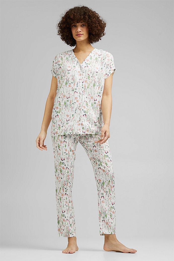 Pyjama met bloemenprint, van LENZING™ ECOVERO™, OFF WHITE, detail image number 0