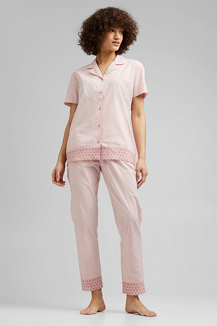 Check pyjamas trimmed with broderie anglaise, 100% organic cotton