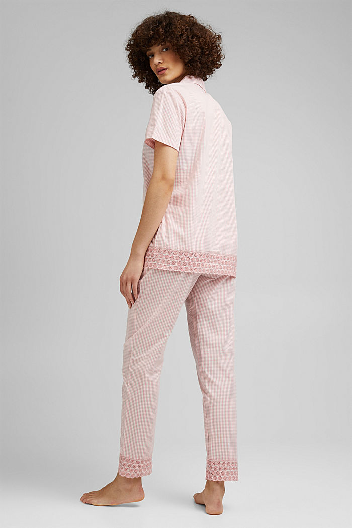 Check pyjamas trimmed with broderie anglaise, 100% organic cotton, CORAL, detail image number 1