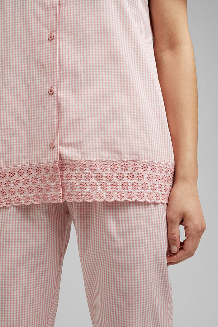 Check pyjamas trimmed with broderie anglaise, 100% organic cotton, CORAL, detail image number 3