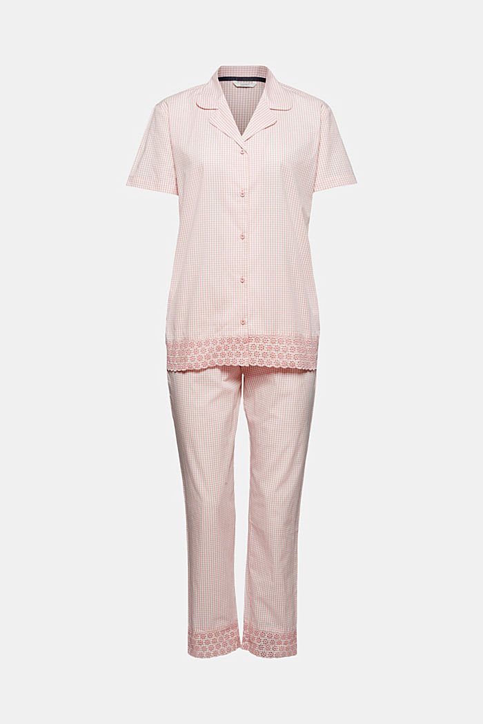 Check pyjamas trimmed with broderie anglaise, 100% organic cotton, CORAL, overview