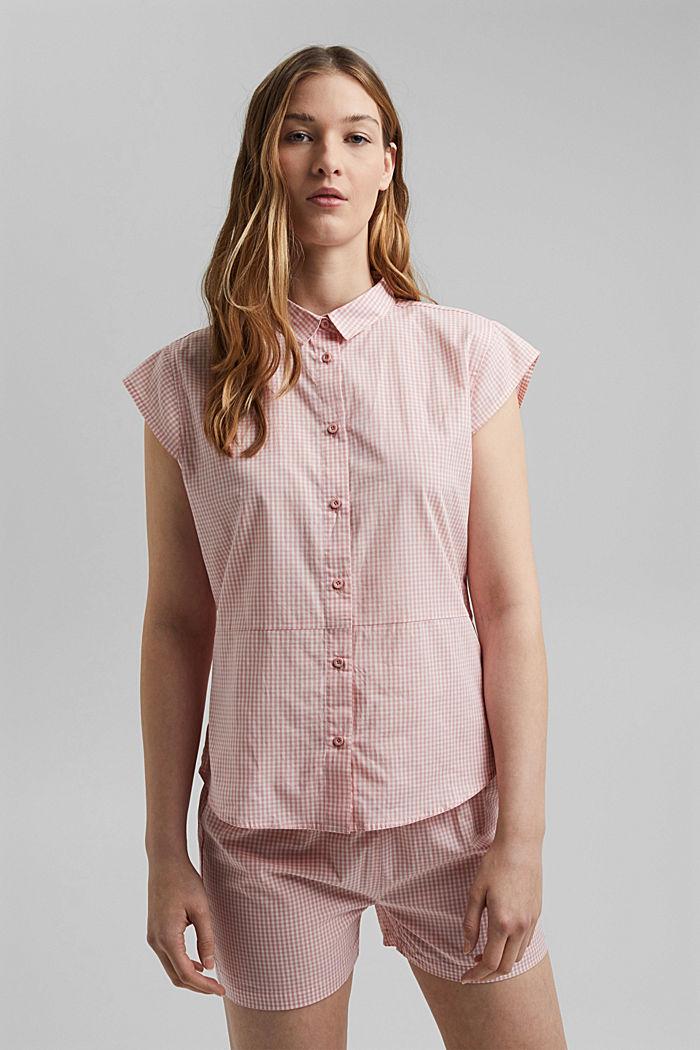 Pyjamas with gingham checks, 100% organic cotton, CORAL, detail image number 1