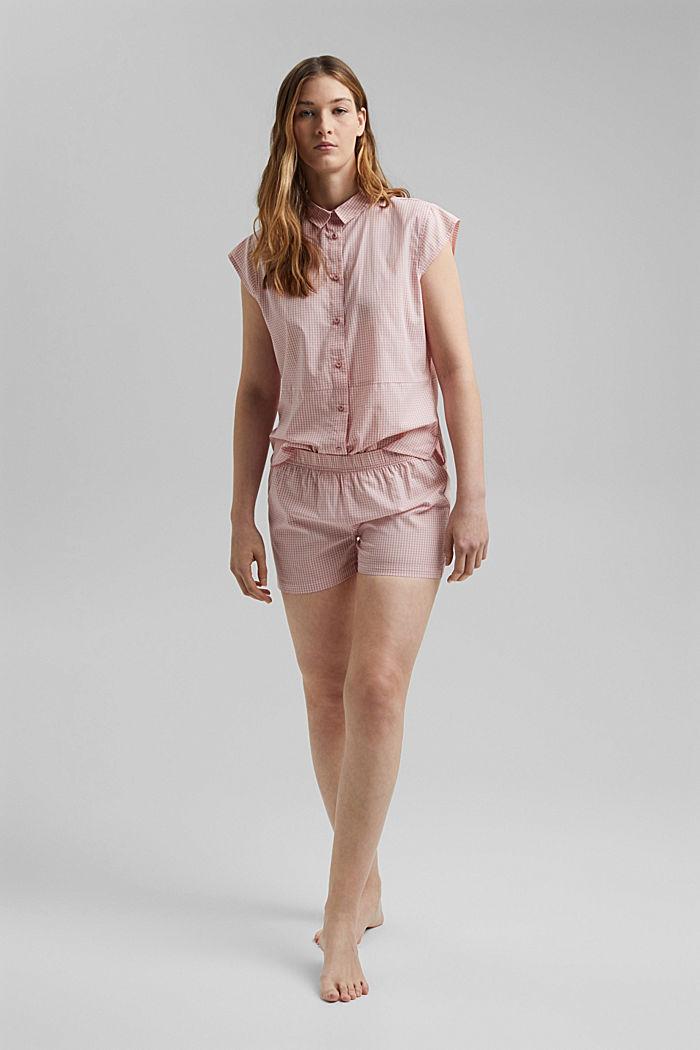 Pyjama mit Vichy-Karo, 100% Organic Cotton, CORAL, detail image number 0