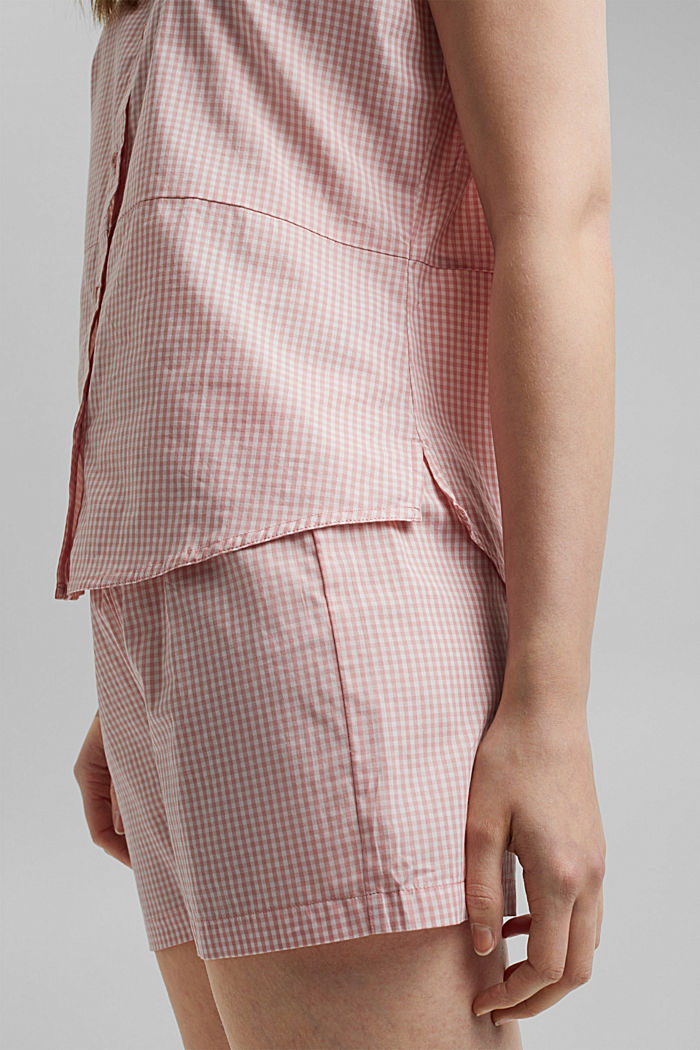 Pyjamas with gingham checks, 100% organic cotton, CORAL, detail image number 3