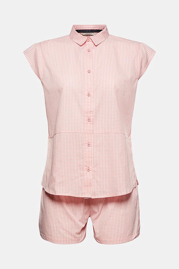 Pyjamas with gingham checks, 100% organic cotton, CORAL, detail image number 4