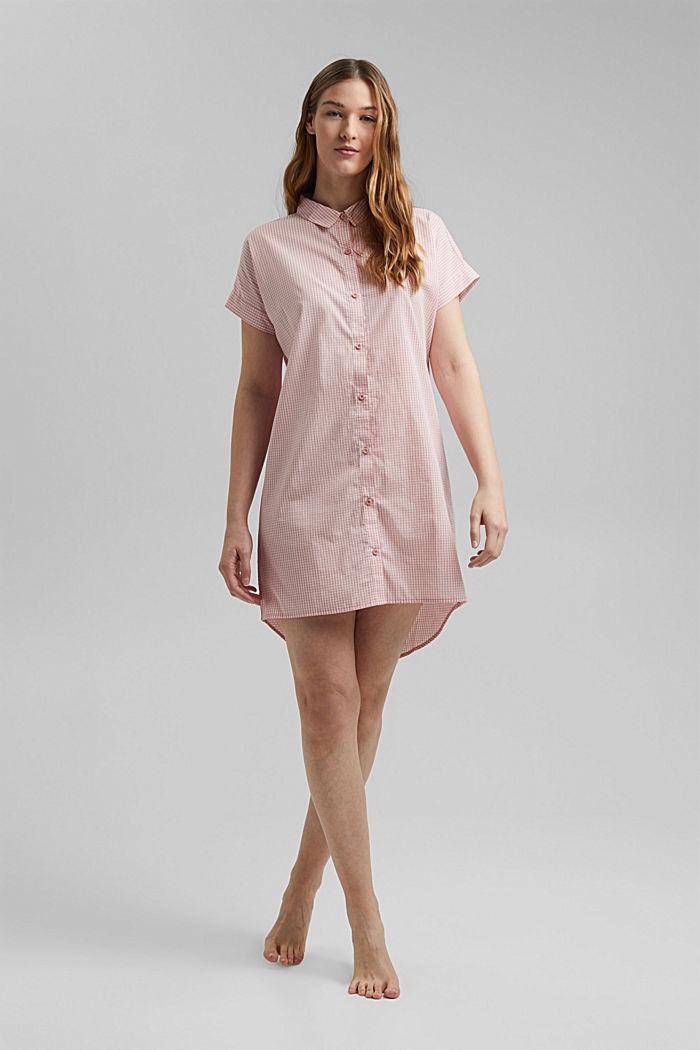 Camicia da notte in 100% cotone biologico, CORAL, detail image number 0