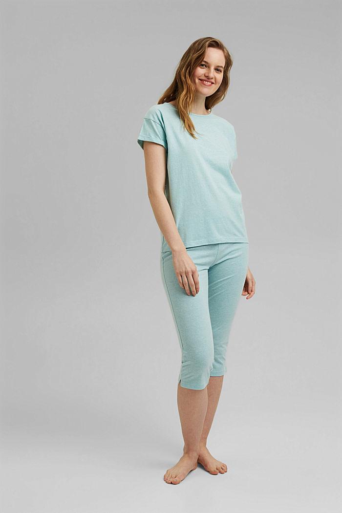 Jersey pyjama met biologisch katoen, TEAL GREEN, detail image number 3