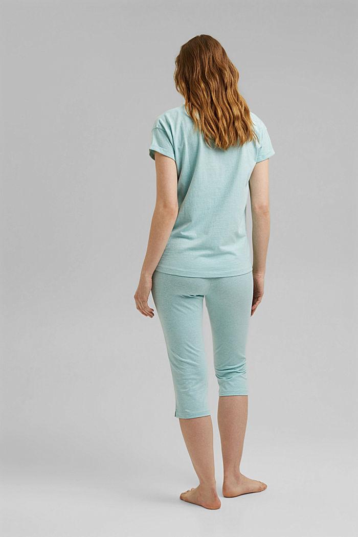 Jersey pyjama met biologisch katoen, TEAL GREEN, detail image number 1
