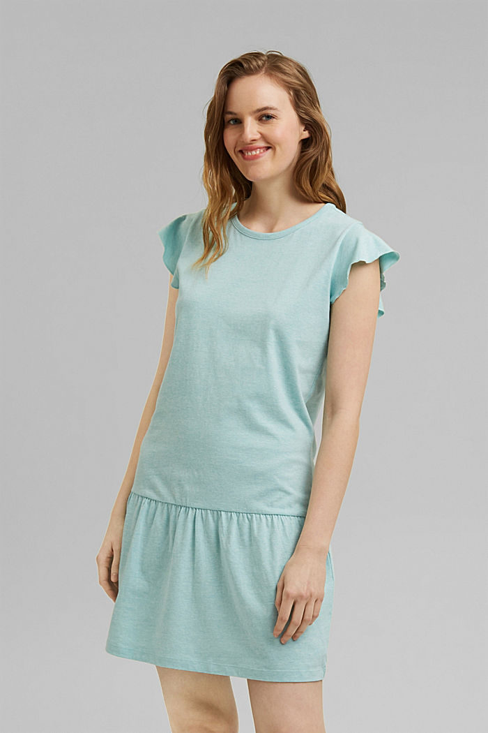 Jersey nightshirt with organic cotton, TEAL GREEN, detail image number 1