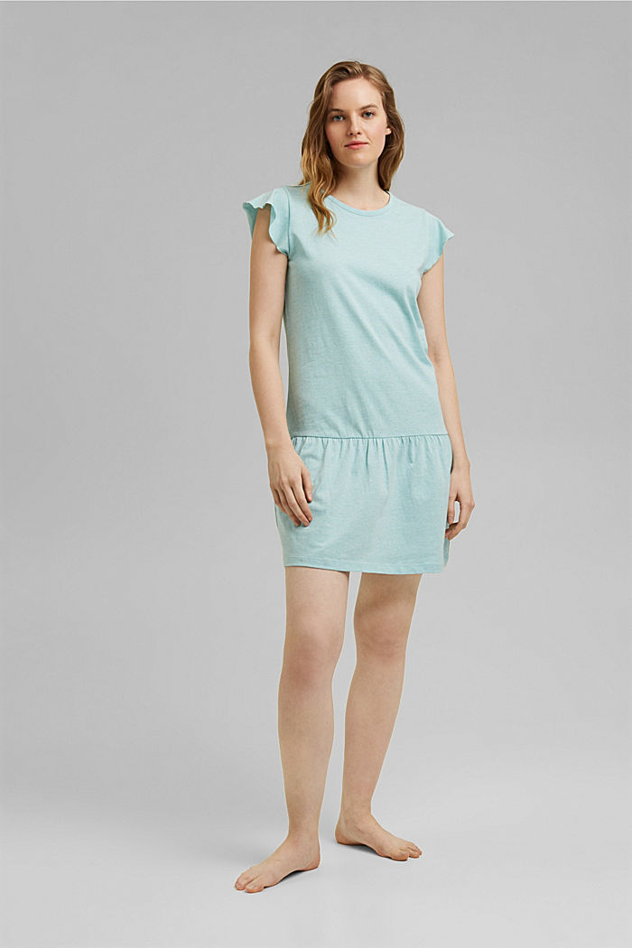 Jersey nightshirt with organic cotton, TEAL GREEN, detail image number 0