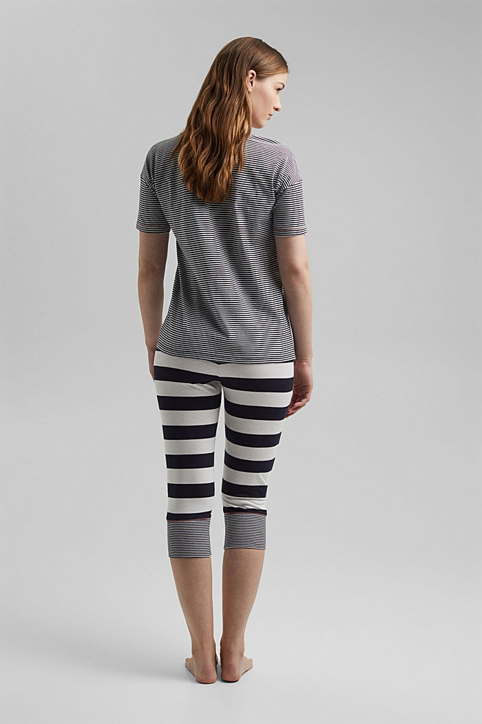 Striped jersey pyjamas, organic cotton, NAVY, detail image number 1