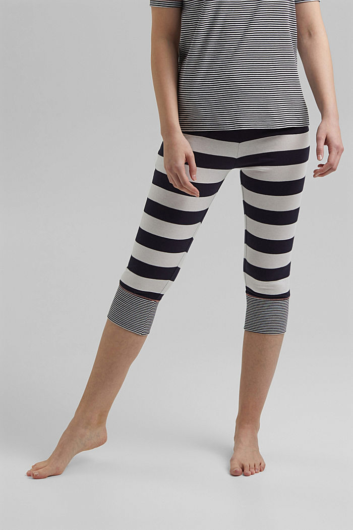 Striped jersey pyjamas, organic cotton, NAVY, detail image number 3