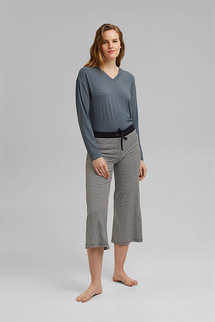 Capri-Pyjama-Hose aus 100% Bio-Baumwolle, NAVY, detail image number 1