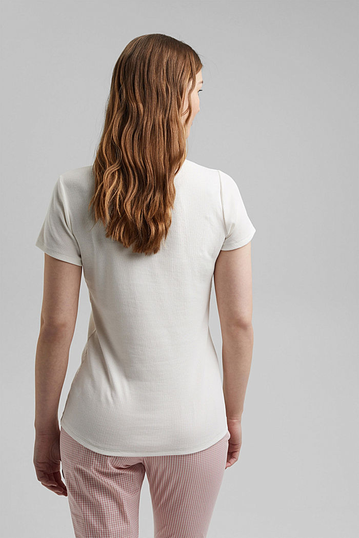 Henley T-shirt made of finely ribbed jersey, OFF WHITE, detail image number 2