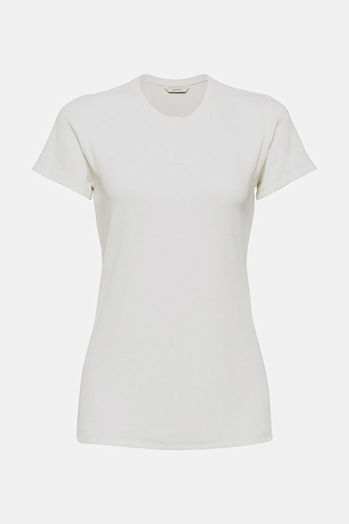 Henley T-shirt made of finely ribbed jersey, OFF WHITE, detail image number 4