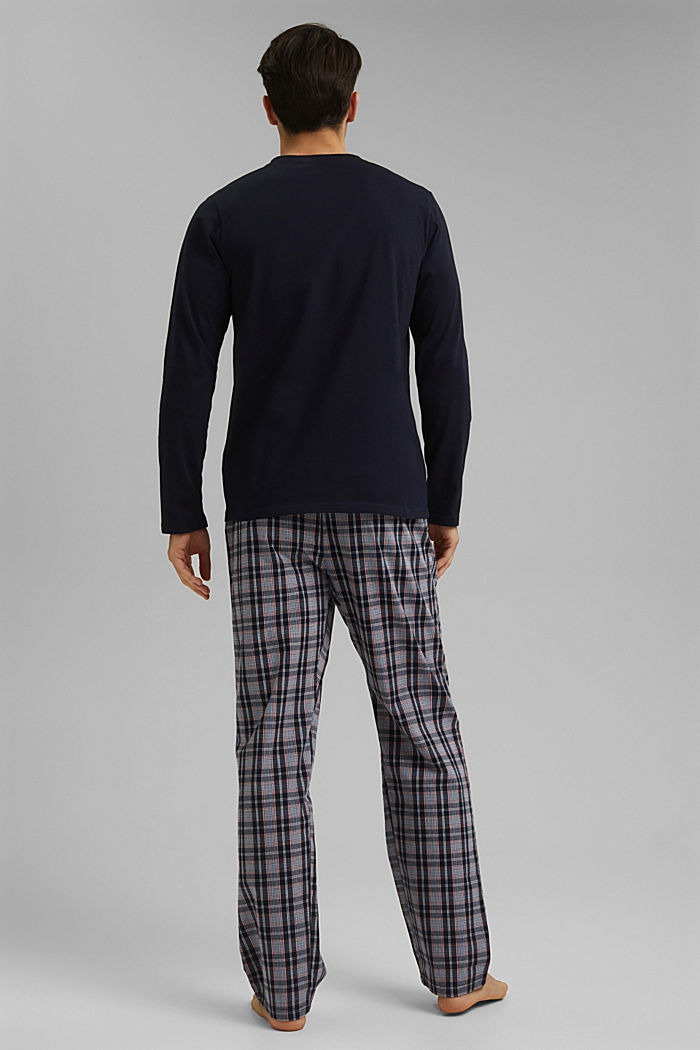 Pyjamas with checked trousers, organic cotton, NAVY, detail image number 2