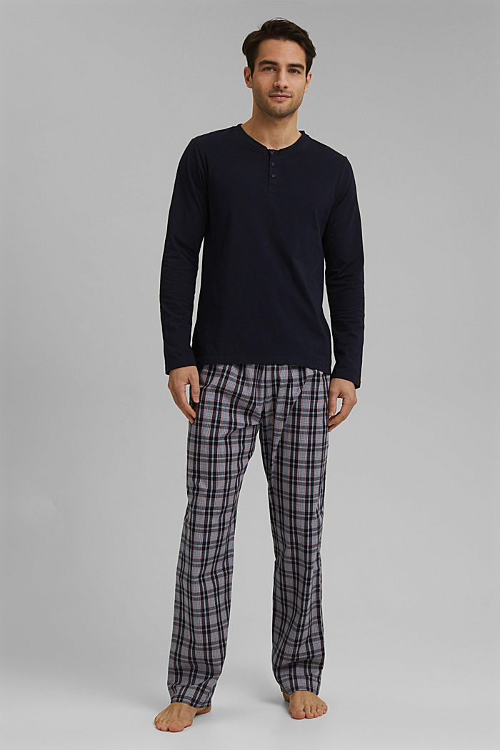 Pyjamas with checked trousers, organic cotton, NAVY, detail image number 1